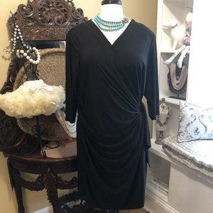 Nina Leonard 2X Black Ruched Dress!